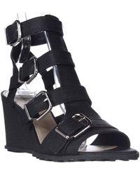 Via Spiga - Luxie Ankle-strap Wedge Sandals - Black - Lyst