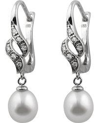 Splendid - Leverback Cz Pearl Earrings - Lyst