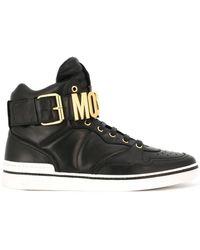 Moschino - Logo Plaque Hi-top Sneakers - Lyst
