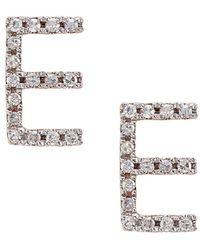 CR By Casa Reale - 14 K Gold White Diamond E Initial Stud Earrings - Lyst