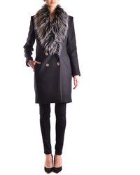 Elisabetta Franchi - Women's Black Wool Coat - Lyst