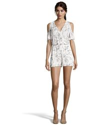 Romeo and Juliet Couture - Open-shoulder Floral Embroidered Gauze Romper - Lyst