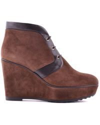 Tod's - Women's Mcbi293074o Brown Suede Ankle Boots - Lyst
