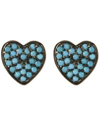 Adornia - Heart Studs Silver Turquoise - Lyst