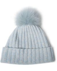 Portolano - Cashmere Ribbed Hat With Fox Pom - Lyst