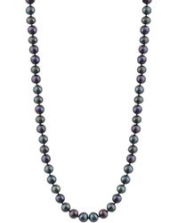 """Splendid - 8-8.5mm Cultured Freshwater Pearl Necklace, 18"""", Individually Hand Knotted, 14k White Gold Fish Hook Clasp - Lyst"""