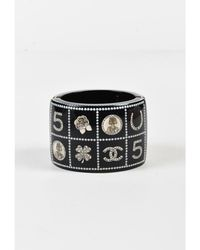 "Chanel - 1 14c Black Quilted Faux Pearl Logo ""lucky Charms"" Bracelet - Lyst"