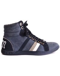 Frankie Morello - Men's Blue Leather Hi Top Sneakers - Lyst