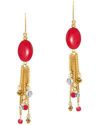 Gottex - 18k Plated Coral & Crystal Linear Beaded Chain Tassel Drop Earrings - Lyst