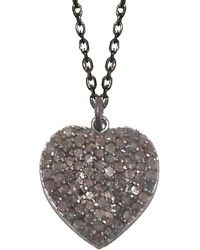 Adornia - Champagne Diamond And Sterling Silver Carrie Heart Necklace - Lyst