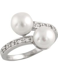Splendid - Ring With Freshwater Pearls And Cz - Lyst