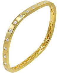 Amanda Rose Collection - Amanda Rose Gold Flashed Sterling Silver Cubic Zirconia Fancy Bezel Cuff Bangle - Lyst