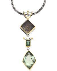 Jewelista - Silver Pendant With Green Amethyst, Gems - Lyst