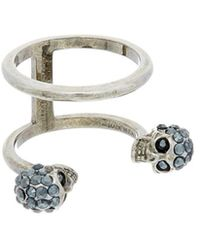 Alexander McQueen | Twin Skull Double Ring | Lyst