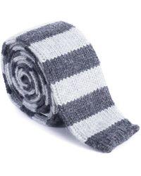 Brunello Cucinelli - Mens Pure Cashmere Gray Striped Tie - Lyst