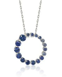 Suzy Levian - Sterling Silver Sapphire Cubic Zirconia Circle Journey Necklace - Lyst
