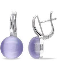 Catherine Malandrino - Hinged Hoop Simulated Light Purple Cat Eye Earrings - Lyst