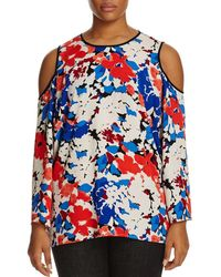 Vince Camuto - Womens Plus Chiffon Printed Blouse - Lyst