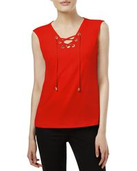 2476a990a8326 Calvin Klein - Womens Grommet Laced Front Tank Top - Lyst