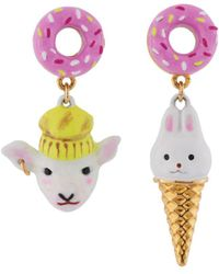 Les Nereides - Kind And Happy Zoé The Lamb And Her Rabbit Ice Cream Asymetrical Earrings - Lyst