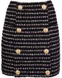 Balmain - Women's White/black Polyester Skirt - Lyst