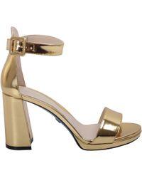 Loriblu - Women's Gold Leather Sandals - Lyst
