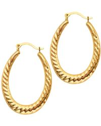 Jewelry Affairs - 14k Yellow Gold Shiny Textured Oval Shape Hoop Earrings, Length 30mm - Lyst