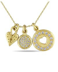 Catherine Malandrino - Cz Heart Charm Necklace In Yellow Plated Sterling Silver - Lyst
