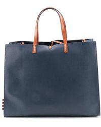Manila Grace - Women's Blue Leather Tote - Lyst
