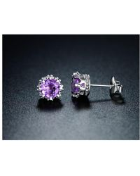 Peermont - 18k White Gold Plated Genuine Amethyst Crown Stud Earrings - Lyst