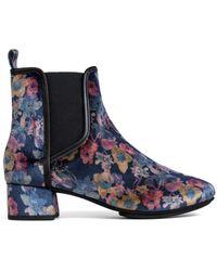 Yosi Samra - Womens Penelope Black Floral Print Velvet Boot - Lyst