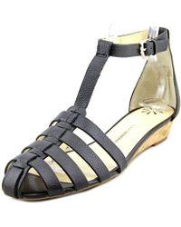 Isaac Mizrahi New York - Julia Women Open Toe Leather Black Wedge Sandal - Lyst