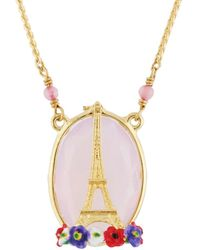Les Nereides | From Paris With Love Eiffel Tower On A Flowerbed And Stone Necklace | Lyst