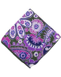 Tom Ford - Mens Purple Green Paisley Floral Pocket Square - Lyst