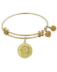 Angelica - Stipple Finish Brass Lawyer Bangle Bracelet, 7.25 - Lyst