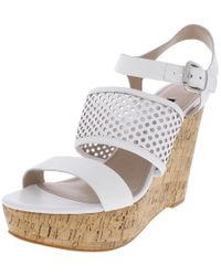 French Connection - Womens Devi Leather Cork Wedge Sandals - Lyst