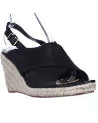 Via Spiga - Rosette Esapdrille Slingback Sandals, Black Leather - Lyst