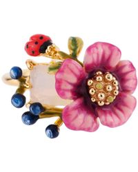 Les Nereides - Oriental Rose White Ston Pink Flower And Berries Ring - Lyst