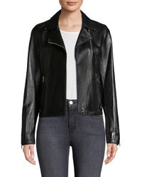 Pure Navy - Leather Motorcycle Jacket - Lyst