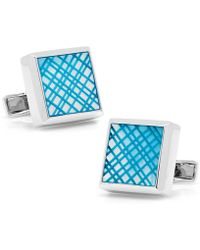 Ravi Ratan - Sterling Blue Etched Plaid Mother Of Pearl Cufflinks - Lyst