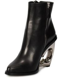 Alexander McQueen - Braided Chain Sculpted Wedge Leather Boots - Lyst