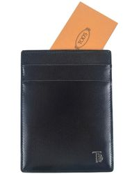 Tod's - Tods Mens Black Polished Grained Leather Card Organizer - Lyst