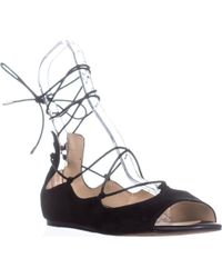 Sam Edelman - Barbara Lace Up Ballet Flats , Black Suede - Lyst