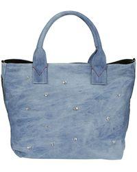 Pinko - Women's Blue Cotton Tote - Lyst