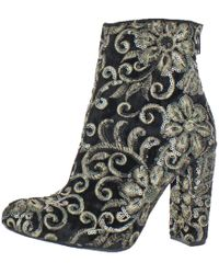 Steve Madden - Womens Benita Floral Stacked Heel Ankle Boots - Lyst