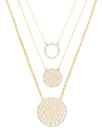 Sparkling Sage - 14k Plated Crystal Multi-strand Circle 28in Necklace - Lyst