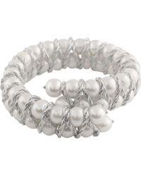 Splendid - Braided Freshwater Pearl Bracelet With Silver Thread - Lyst