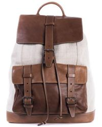 Brunello Cucinelli - Men's Brown Canvas And Textured Leather Backpack - Lyst