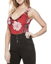 Guess - Womens Sophina Lace-up Floral Print Bodysuit - Lyst