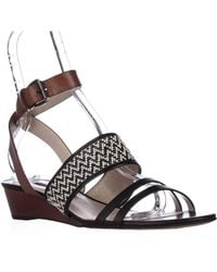 French Connection - Wiley Ankle-strap Wedge Sandals - Black/white/tan - Lyst
